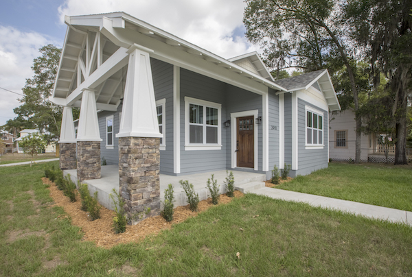 new construction front porch with pillars